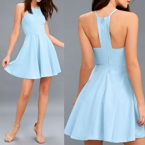 Call to Charms Light Blue Skater Dress